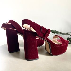 MNG Australia MANGO Red Velvet Mary Jane Pumps
